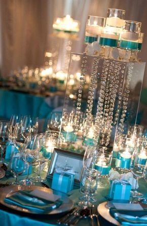 Chic Tiffany blue wedding centerpiece with candles & crystals - Wedding Stuff