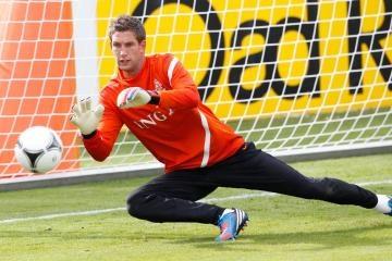 Maarten Stekelenburg tijdens de training