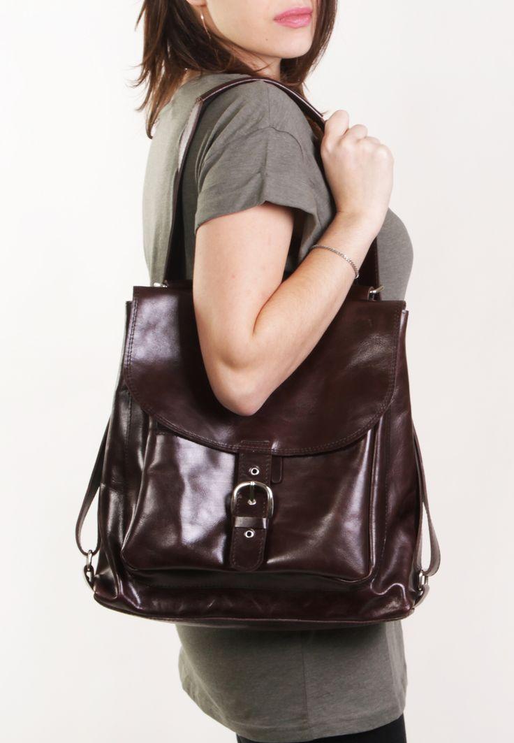 Benjamin Brown - Brown backpack transformer / Brown leather backpack / Brown leather bag /Brown leather purse / Brown bag / Leather backpack by A-Rada