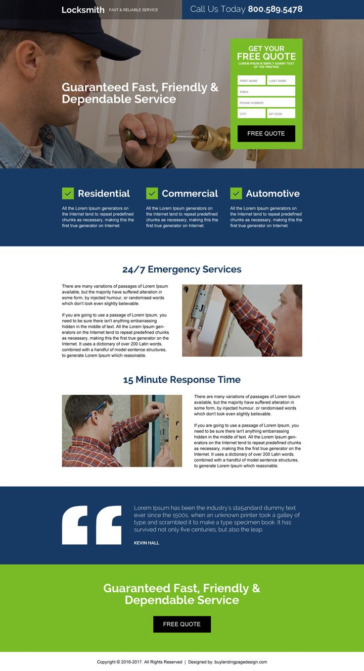 fast reliable locksmith service free quote landing page design
