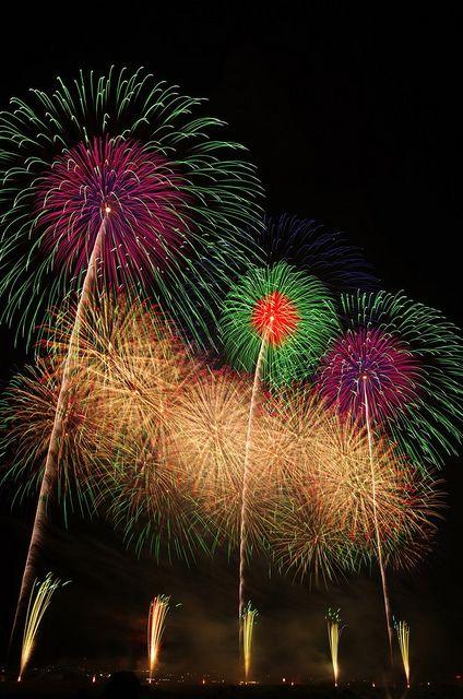 神明の花火大会 愛知県 Shinmei Fireworks Festival, Aichi, Japan