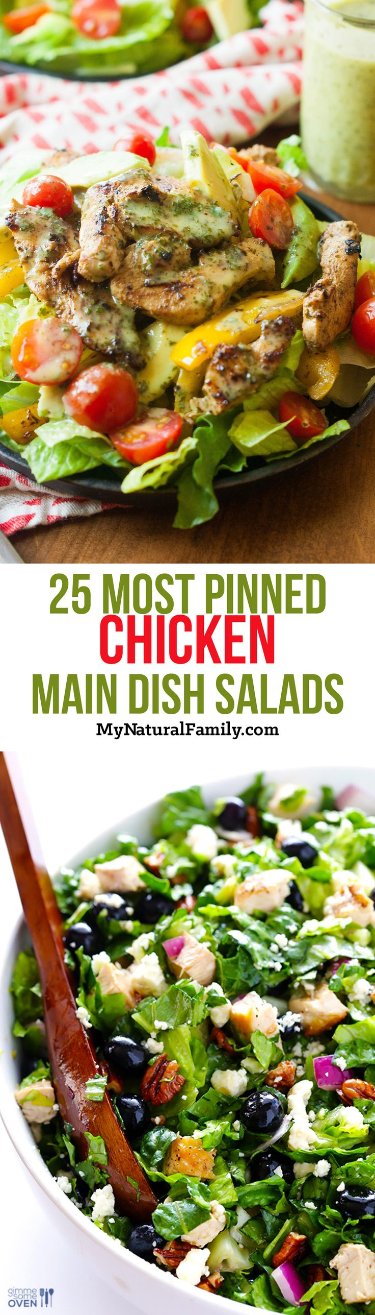 25 Most Pinned Main Dish Salads with Chicken - My Natural Family