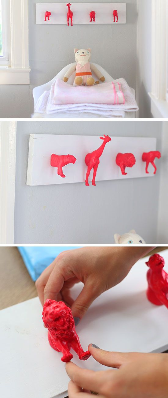 Boys' rooms Neon Pink Hook Rack Made from Toy Animals | Click for 25 DIY Nursery Decor Ideas | DIY Decorating Ideas for Toddlers Girls Room
