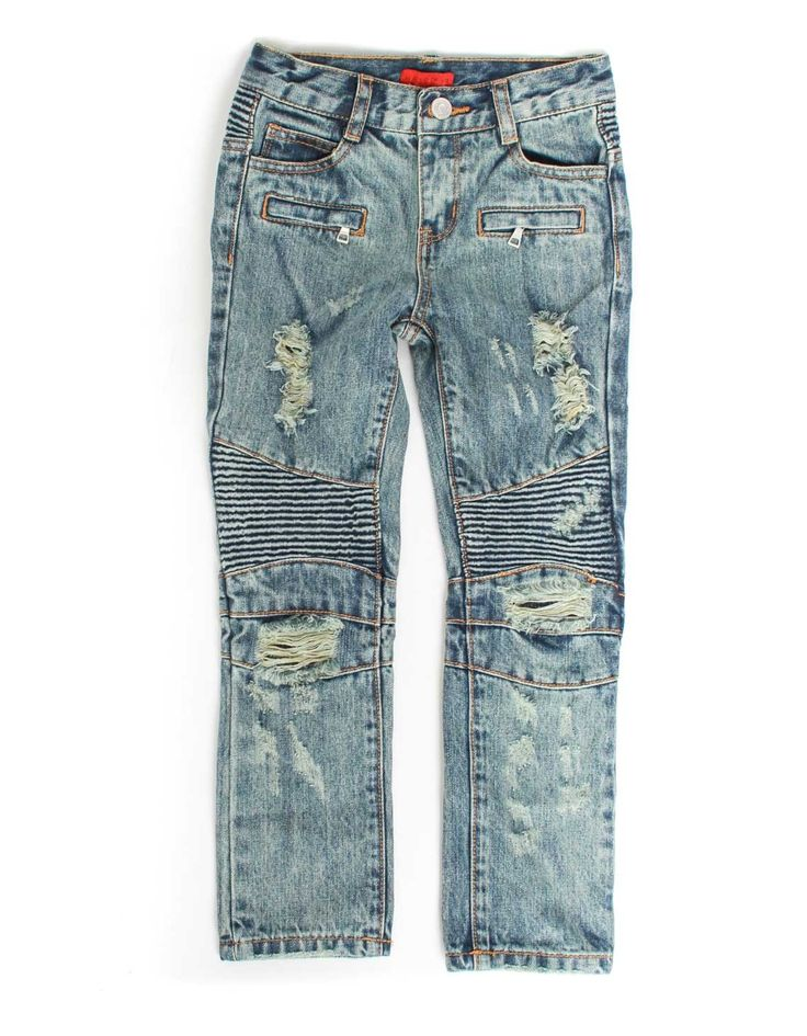 Haus of Jr. Clayton Distressed Biker Jeans Blue   Accent Clothing
