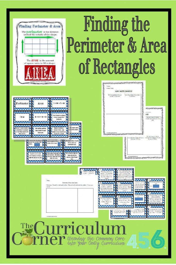 Finding the Perimeter and Area of Rectangles activities from The Curriculum Corner FREE includes anchor chart and center ideas