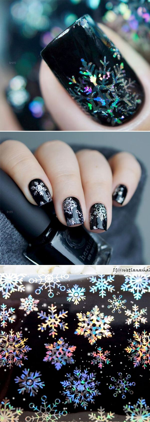 #Christmas snowflake #nailart, try this one if you are still thinking about how to do you Christmas manicures. see more in bornprettystore.com