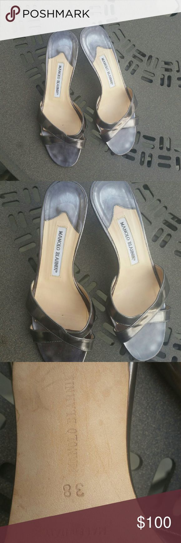 *sale*Manolo  Blahnik pewter sandals Manolo Blahnik pewter sandals.   In good condition. Manolo Blahnik Shoes Sandals