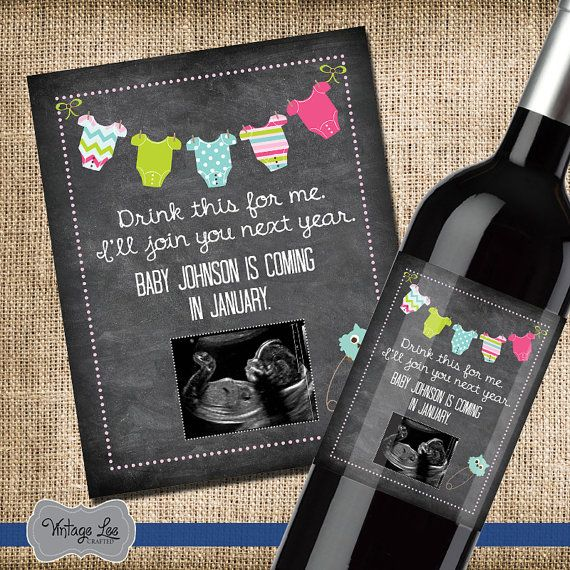 Pregnancy Announcement, Baby Announcement Wine Bottle Label, Custom Wine Label…