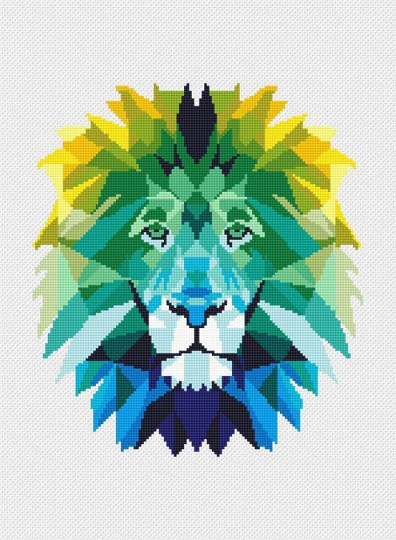 Modern Cross Stitch Pattern Lion Animal Cat Geometric