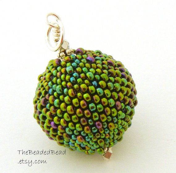 Beaded Ball Pendant  large round peacock mardis by TheBeadedBead, $25.00