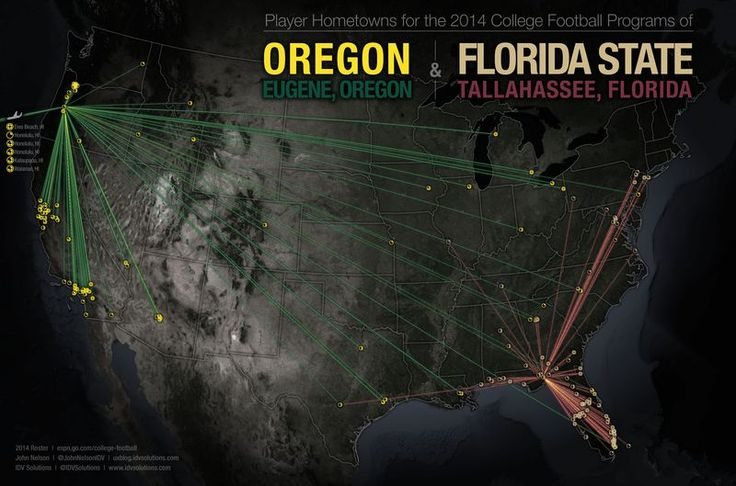 Map of Player Hometowns for the 2014 College Football Programs of Oregon vs Florida State #FSU