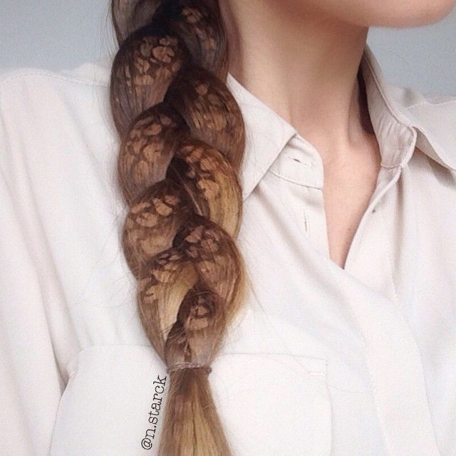 Hair art  Experimented with my airbrush and spiced up this basic braid with some leopard dots mixed in colors to match my hair. A mix of hair and art - I love being creative with my airbrush