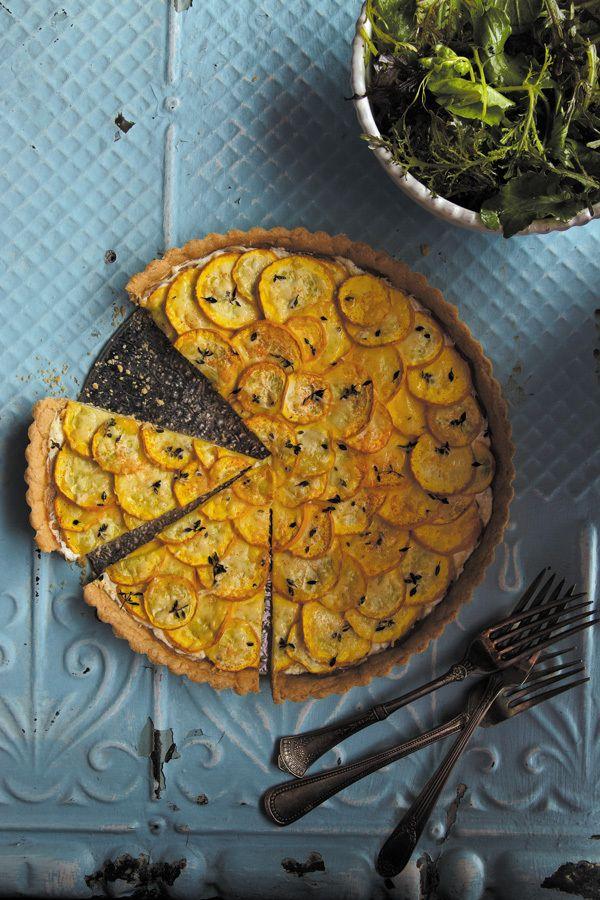 Tarte aux courgettes jaunes, ricotta, citron et thym. Miam!