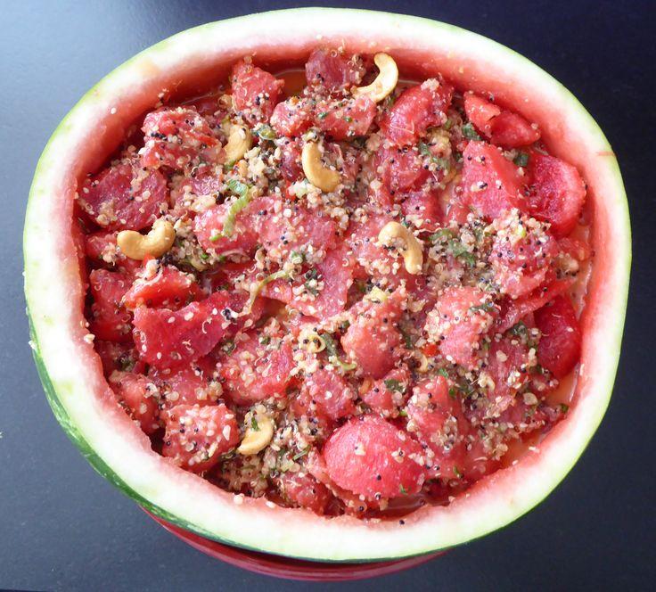 Etwas seasonal und gesund: Quinoa-Wassermelone Salat (http://www.karai.de/…/sal…/421-quinoa-salat-mit-wassermelone)