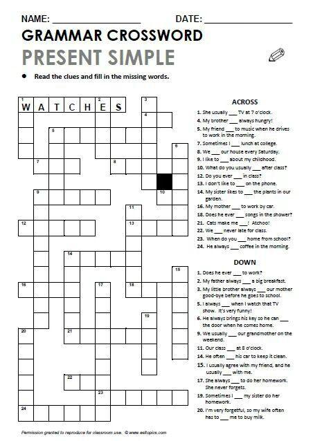 Present Simple.  Grammar Crossword