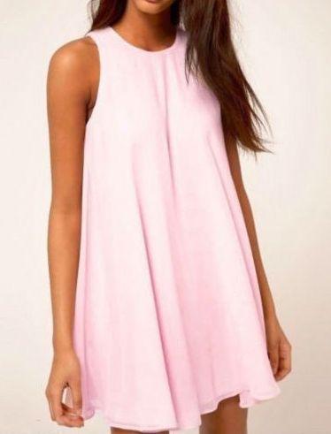 vestido recto sin manga-rosado