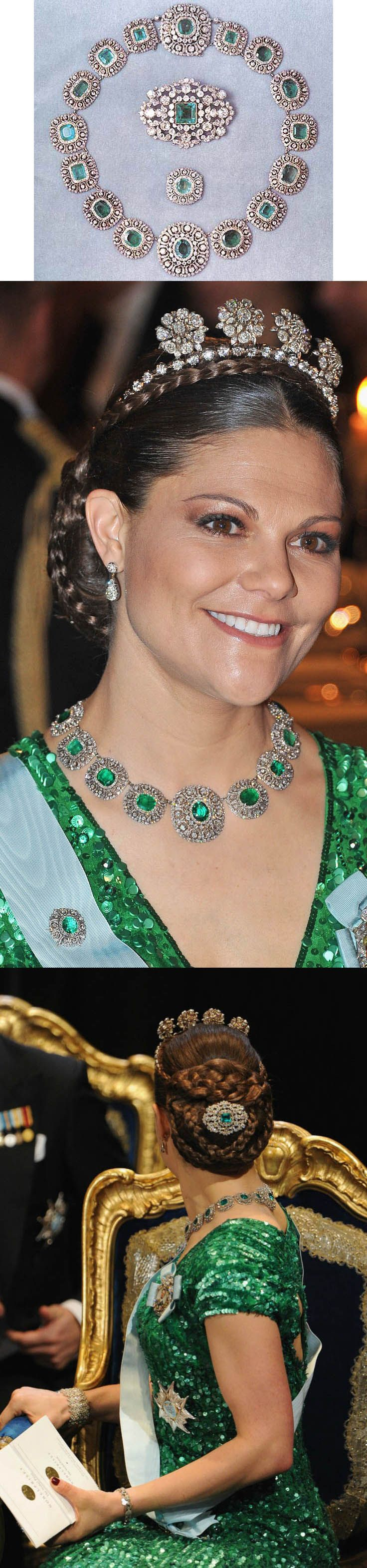 Emerald Demi-parure. The demi-parure comprises of a belt and two brooches. The belt is used as a necklace today. The emeralds were mentioned in the very first documentation of the Bernadotte Family Foundation (the jewels of the Royal House of Sweden) in 1844. The first Bernadotte king, Charles XIV John of Sweden, laid the foundation to a collection that would be owned by the Head of the Royal House and be at the disposition of the queens. Crown Princess Victoria wearing the jewels.