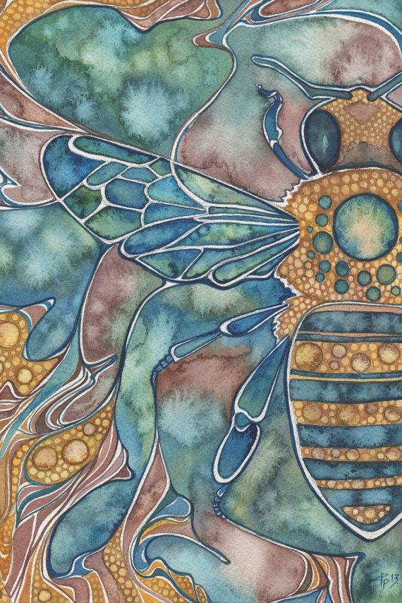 Beautiful watercolor style! Honey Bee 4 x 6 print of detailed watercolour artwork in muted earth tones, mauve aqua yellow, art nouveau via Etsy