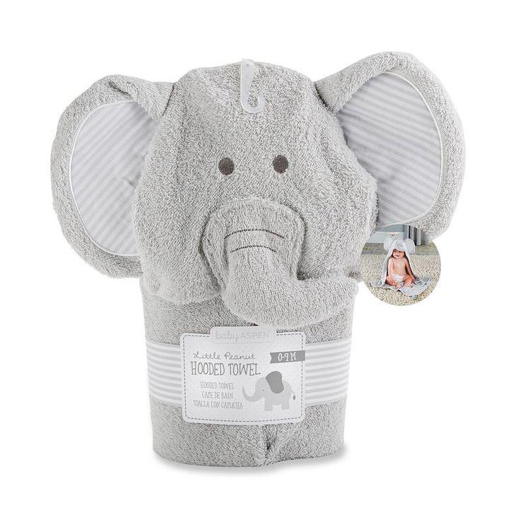Baby Aspen Little Peanut Elephant Hooded Terry Towel, Multicolor