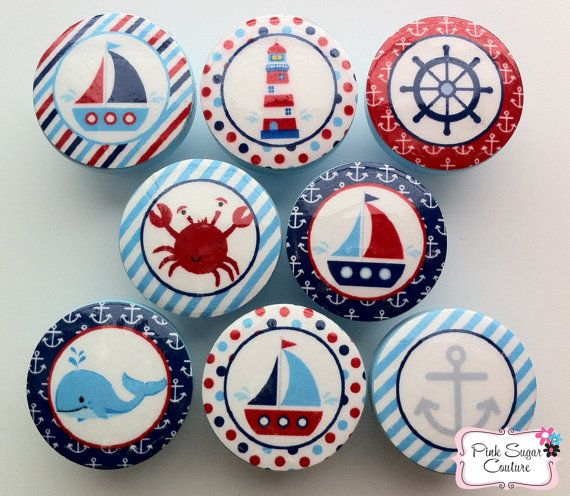 NAUTICAL Knobs Handmade Drawer Pull Harper Regatta Jackson Kids Decor boys sailboat sea ocean  SO CUTE
