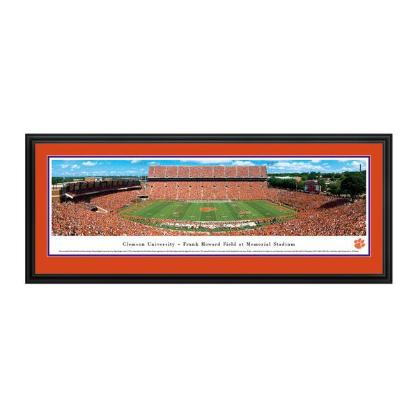 """Clemson Tigers 18"""" x 44"""" 50-Yard Line Deluxe Framed Panoramic Wall Art - $199.99"""