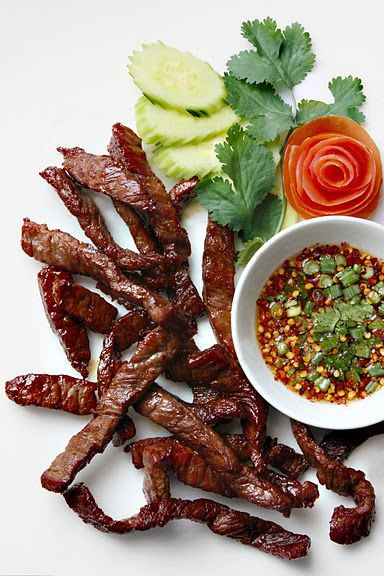Fried Sun-Dried Beef (Thai Beef Jerky) with Dried Chilli Dipping Sauce from Lers Ros Thai Restaurant, San Francisco: Neua Tod and Jaew (เนื้อแดดเดียวทอดและแจ่ว)