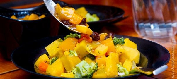 Curried Vegetables with Mango Chutney