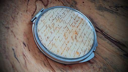Zrkadielko kabelkové s motívom vintage písma