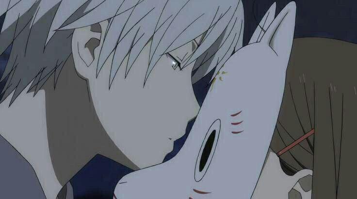 Gin, Hotaru, kiss, mask; Hotarubi no Mori e