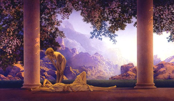 Maxfield Parrish (July 25, 1870 – March 30, 1966) was an American painter and illustrator active in the first half of the twentieth century. He is known for his distinctive saturated hues and idealized neo-classical imagery.