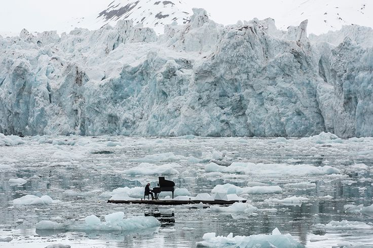 ludovico einaudi orchestrates floating performance in the arctic ocean for greenpeace