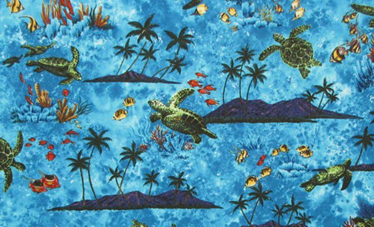 Tropical Fish Sea Turtles Palm Trees Fabric. Check it out at HawaiianFabricNBYond.Etsy.com  Aloha :)
