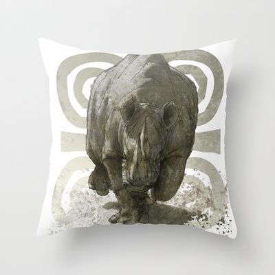 SAVANA RHYNO Throw Pillow by Daniele Vittadello - $20.00