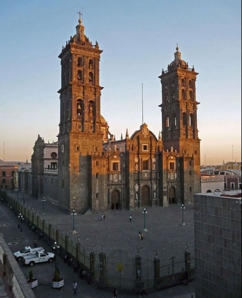 Puebla Cathedral at Sunset, Mexico