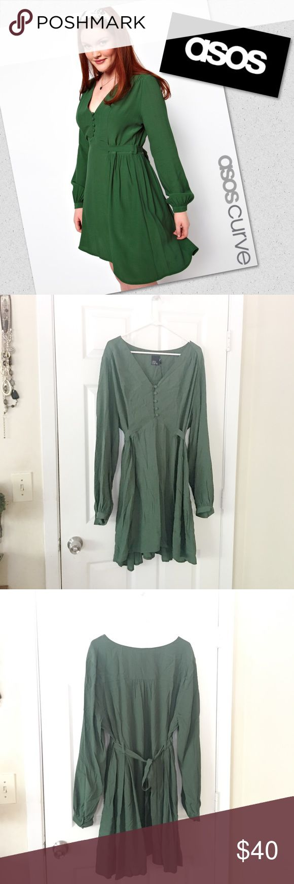 "•ASOS• Tea Dress Olive green dress. • Long sleeve • Button front • no modeling • no trades • 33"" shoulder to hem in front • 36"" shoulder to hem in back. • tie waist at the back of the dress. • THIS DRESS IS OLIVE GREEN. ASOS Curve Dresses Long Sleeve"
