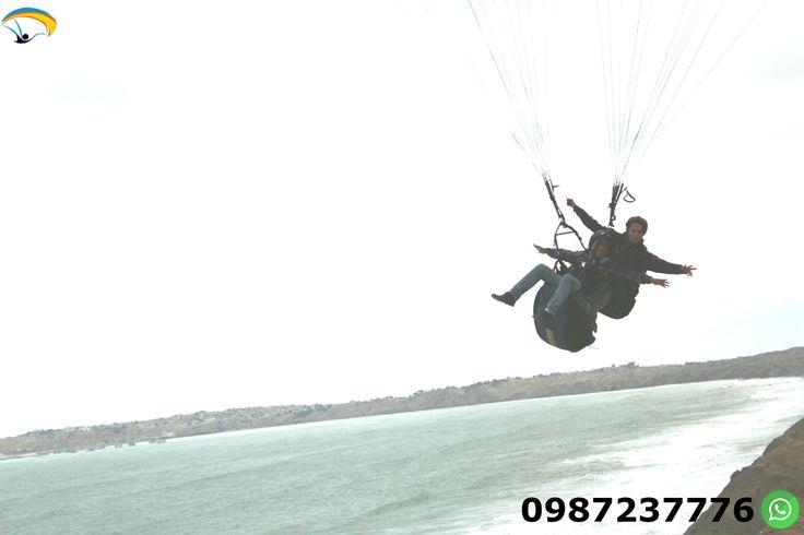 Paragliding Salinas Ancon Ecuador Enjoy a flight over the beaches and enjoy the sea breeze paragliding in a time of 12 to 15 minutes.