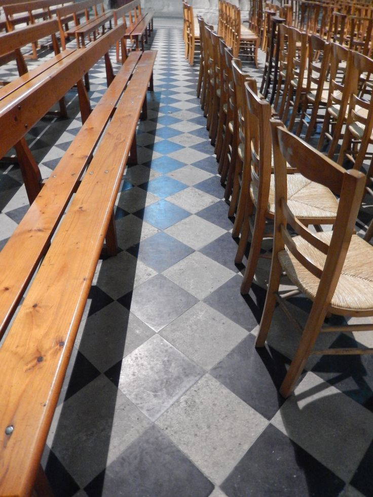 basic ciment floors in the Basilica. Saint Quentin, Aisne. Picardie ...