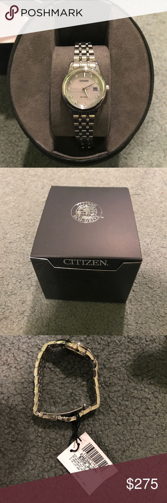 Brand new Citizen Ladies watch! Beautiful color. Brand new Ladies Citizen Eco Drive watch with crystals. Final sale so I cannot return- very pretty watch but I like big bulky watches. Citizen Accessories Watches
