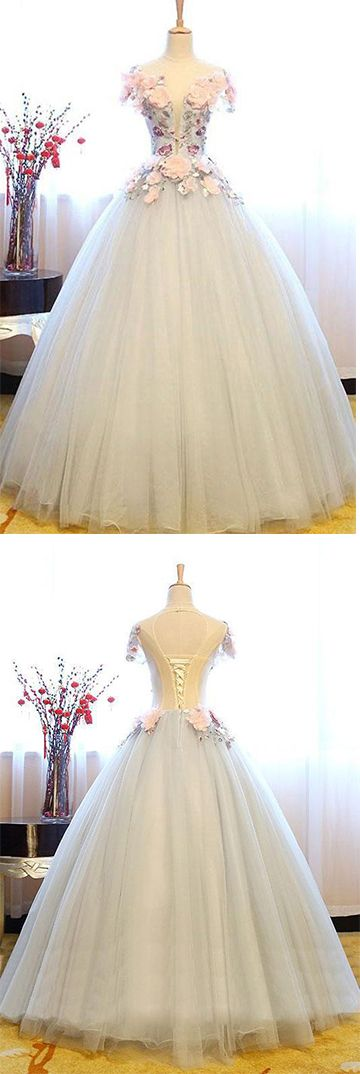 White Princess Deep V Neck Flowers Cap Sleeve Long Ball Gown Prom Dresses, Quinceanera Dress  #QuinceaneraDress #ballgown #offwhite #okdresses