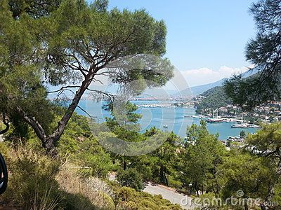 View from the hills to the gulf in mediterranean