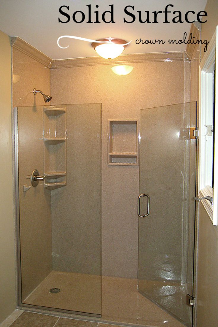 "DIY enthusiasts can enjoy a low maintenance high style shower using durable 3/8"" thick solid surface walls and bases. Learn more about solid surface accessories in this article. #InnovateBuilding"