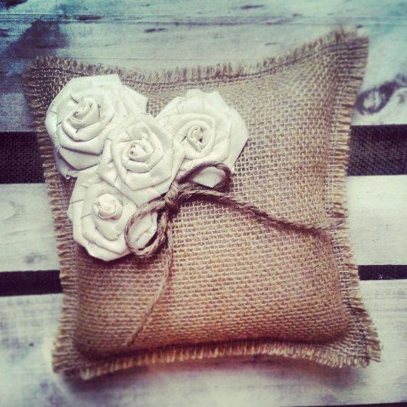 Natural Burlap Ring Bearer Pillow w/ Cream Muslin Rosettes #wedding #ceremony #rustic