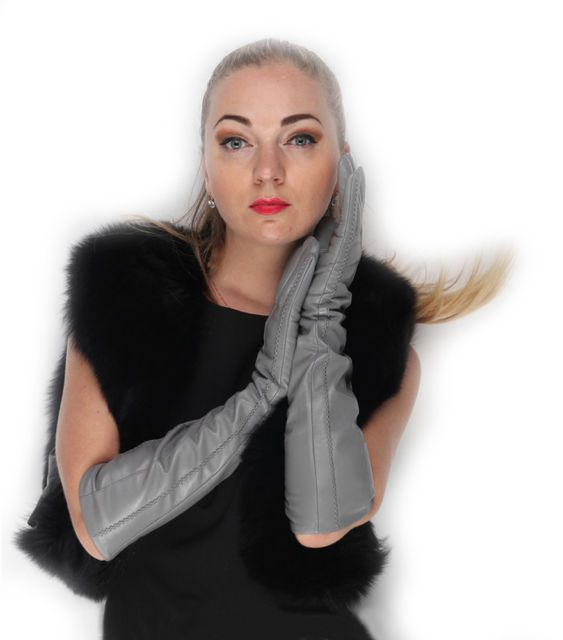 """47cm(18.5"""")long elbow  long lines style top real sheep leather gloves light grey"""