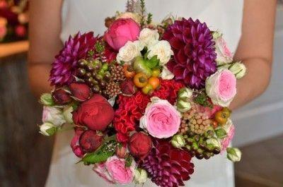 Bridal bouquet with red pompon dahlias by Melitta Schweiger