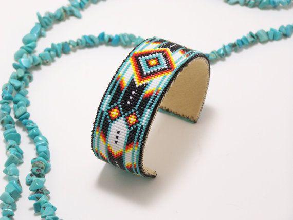 Native American Beaded Cuff Bracelet In Turquoise by LJGreywolf, $50.00