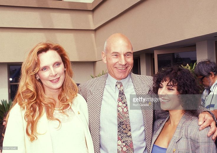 Actress Gates McFadden, actor Patrick Stewart and actress Marina Sirtis attend the 'Star Trek' 25th Anniversary Celebration on June 6, 1991 at Paramount Pictures Studios in Hollywood, California.