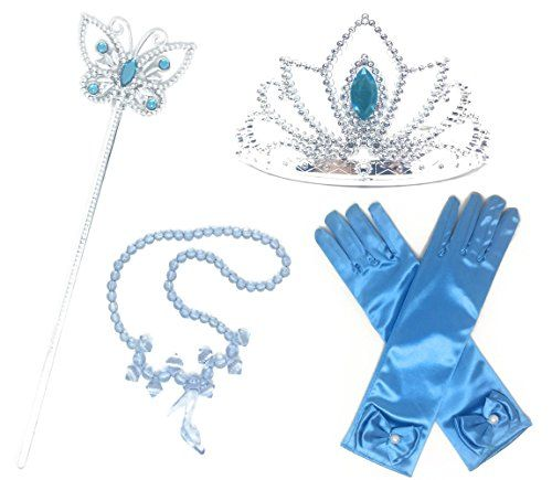 Princess Cinderella Dress up Party 4-Piece Accessories Gift Set  Perfect for parties and dress up games!  Accessory set includes: a Pair(2) of Gloves, Tiara/Crown, Necklace and a Wand/Scepter  Perfect for various princess costumes like Elsa, Cinderella,Aurora and Rapunzel costumes  Recommended ages for the gloves: 3-7 years old