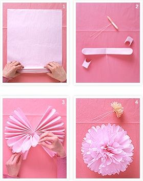 tissue paper flowers: Pom Poms, Pompoms, Diy Crafts, Decoration, Tissue Paper Flowers, Paper Pom, Craft Ideas, Party Ideas, Baby Shower