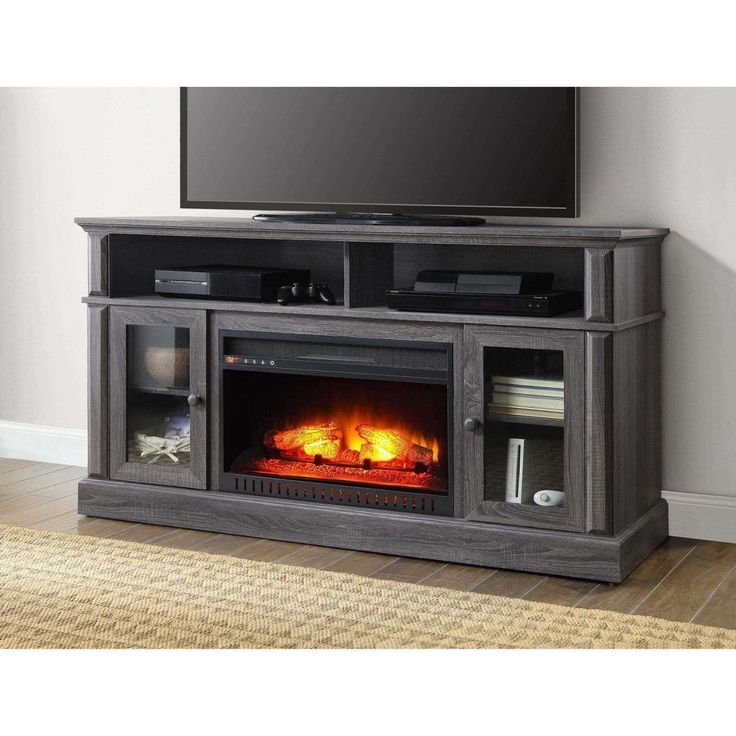 Modern XL Electric Fireplace Tv Stand Gray TV'S Up To 70 Entertainment Furniture #ModernXLElectric