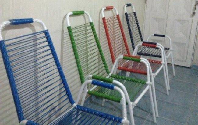 Juego de jardin, sillon de caño y cordon de PVC